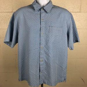 Quiksilver Men's Button Up Shirt Size M Blue D354